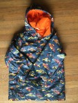 Hatley rain jacket coat size 8 boys orange towel lining cars print