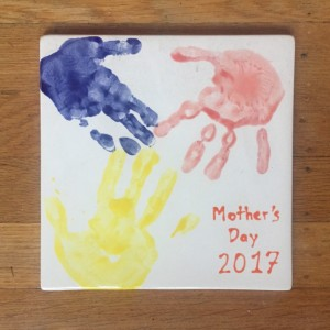 Kid handprint ceramic tile mother's day gift