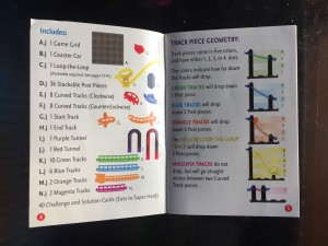 Instruction guide for Roller Coaster Challenge logic puzzle game ThinkFun for kids