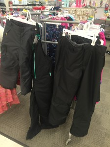 Kid snow clothes pants bib overalls hanging on rack at Target