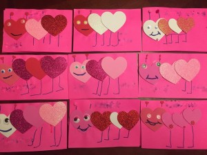 Heart caterpillars homemade kid valentines cards heart shaped