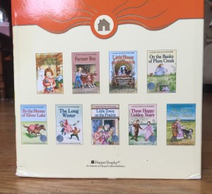 Side of box containing nine volume set of Little House on the Prairie series books by Laura Ingalls Wilder