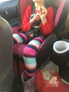 Six year old child in convertible car seat