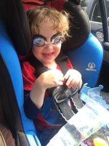 Three year old in Britax Marathon convertible car seat