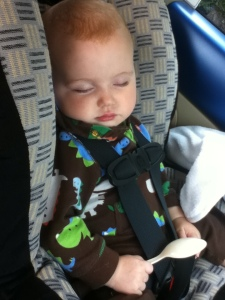 Nine month old infant facing backwards in Britax Roundabout car seat