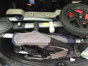 BOB Motion stroller folded into back of Mazda 5 microvan