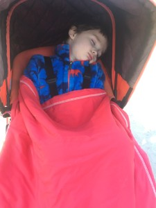 Child sleeping in Bugaboo Frog stroller with sunshade pulled down