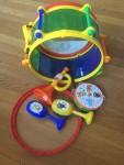 Tots 7 piece party drum set musical instruments maracas horn tambourine drum that stores
