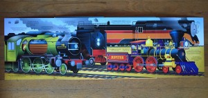 Usborne Big book of big trains picture pages folded out on floor
