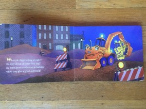 Page spread of Where Do Diggers Sleep at Night? board book by Brianna Caplan Sayres