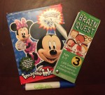 Mickey Mouse Imagine Ink mess free activity book and Brain Quest grade 3 question and answer card deck