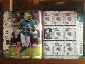 Dolphins page spread from Panini NFL sticker book collectors album 2018