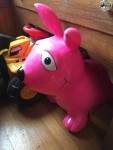 Pink inflatable dog ride on toy for kids by Wahoo Marky Sparky