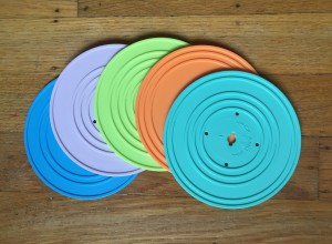 Five records in different colors fanned out for Fisher Price Retro Record Player