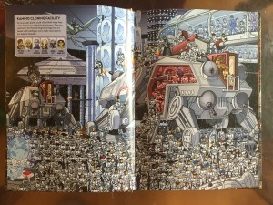Page spread from Where's the Wookie? 2 look and find Star Wars book for kids