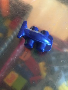 Race car crayon in blue made from Crayola crayon melting machine mold factory