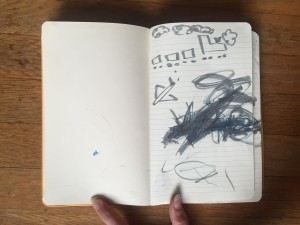 Child's drawing and coloring inside moleskin journal