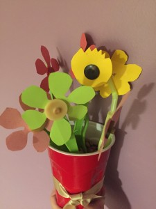 Flower Button Bouquet in plastic cup made with utensils and straws