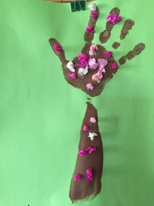 Hand tree made by child's arm and hand