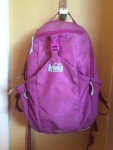 REI Kids Tarn 12 Kids Backpack in purple pinkish color with gray accents hanging on hook on wall