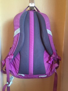Mesh back of REI kids tarn 12 backpack hanging on wall