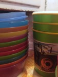 IKEA Kalas kid bowls stacked up next to tractor cups