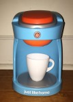 Just Like Home kids coffee maker blue with orange accents and white coffee cup uses real water