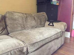 Sofa cushions after vacuuming and plumping