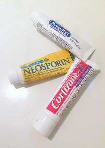 Benadryl bug bite itch cream Neosporin first aid cream Cortizone hydrocortisone cream