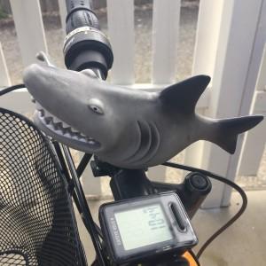 Sunlite Squeeze Horn in Shark shape installed on kids bike for bell honk