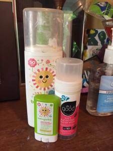 Sunscreen on shelf Babyganics SPF 50 stick, spray lotion, and All Good kids sunscreen butter stick