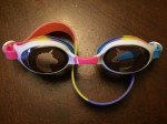 Aqua2ude kids swim goggles rainbow colored strap unicorn print lenses