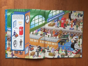 Knapford Station page spread from Thomas and Friends look and find book