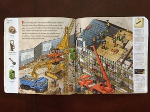 October page spread from A Year at a Construction Site book for kids by Nicholas Harris