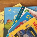 Alphaprints Touch and Feel, Bright Baby books, Usborne, Noisy Touchy Feely board books fanned in stack for young kids