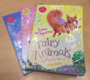 Fairy Animals of Misty Wood books by Lily Small Sophie the Squirrel Kylie the Kitten and Penny the Pony in a stack