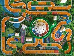 Game of Life Hasbro board game overview of board with spinner and Millionaire Estates at end