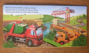 Usborne Construction Sites Lift and Look board book page spread with flaps to open and little rabbit to find