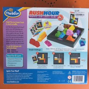 Rush Hour Junior ThinkFun games logic puzzle for kids back of box with instructions and example