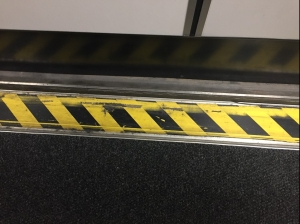 Jetway caution stripes in black and yellow along edge