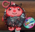 Mini clip on Shimmeez in red and silver reversible sequins ladybug stuffed animal