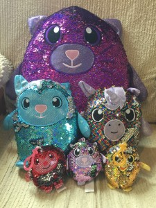 Shimmeez reversible sequin stuffed animals in large, medium, and small clip on sizes