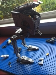 Star Wars AT-AT walker Lego creation on blue Lego plate