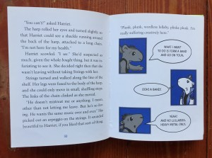 Page spread with graphic novel cartoon illustrations intermixed with text from Hamster Princess Giant Trouble by Ursula Vernon