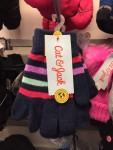 Cat & Jack kids girls one size knit gloves in two pack navy and stripes on navy background hanging at Target
