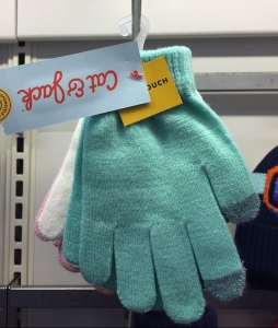 Cat & Jack kids one size knit gloves hanging at Target in teal, white, and pale pink with touchscreen fingertips