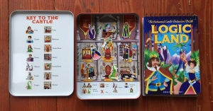 Logic Land The Enchanted Castle Deduction Puzzle showing booklet of riddles to solve and inside of both sides of magnet tin