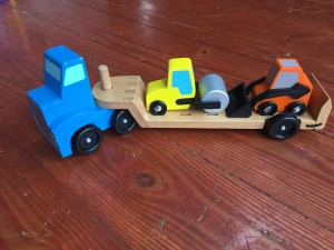 Melissa and Doug Low Loader wooden vehicle play set flatbed truck and trailer with yellow steam roller and orange front loader skid steer toy