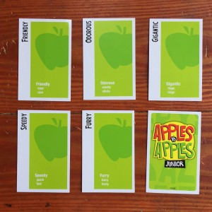 Green apple word cards from Apples to Apples Junior card game version