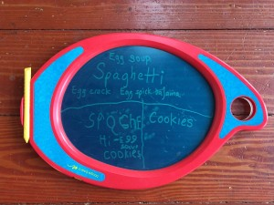 Boogie board Play and Trace with kids' menu written on translucent blue surface